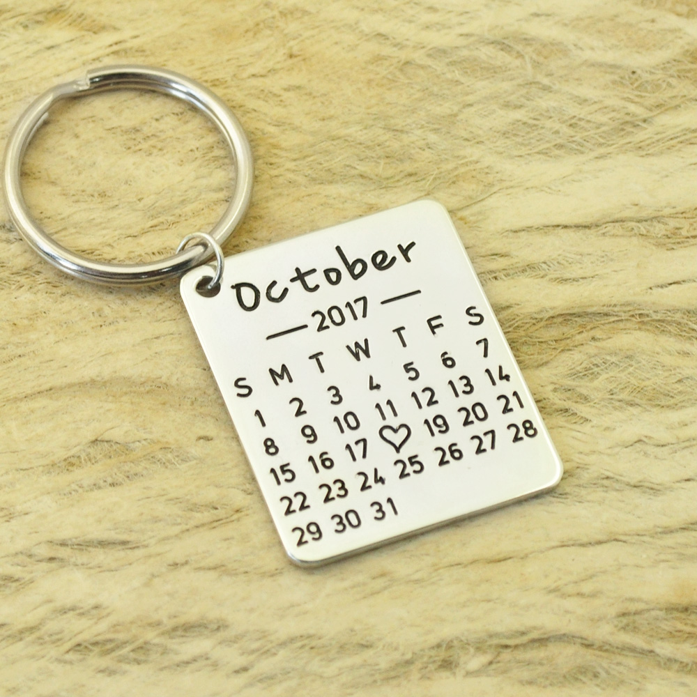 Personalized Calendar Keychain Hand Stamped Calendar Special Day Calendar Anniversary, Wedding, Brithday