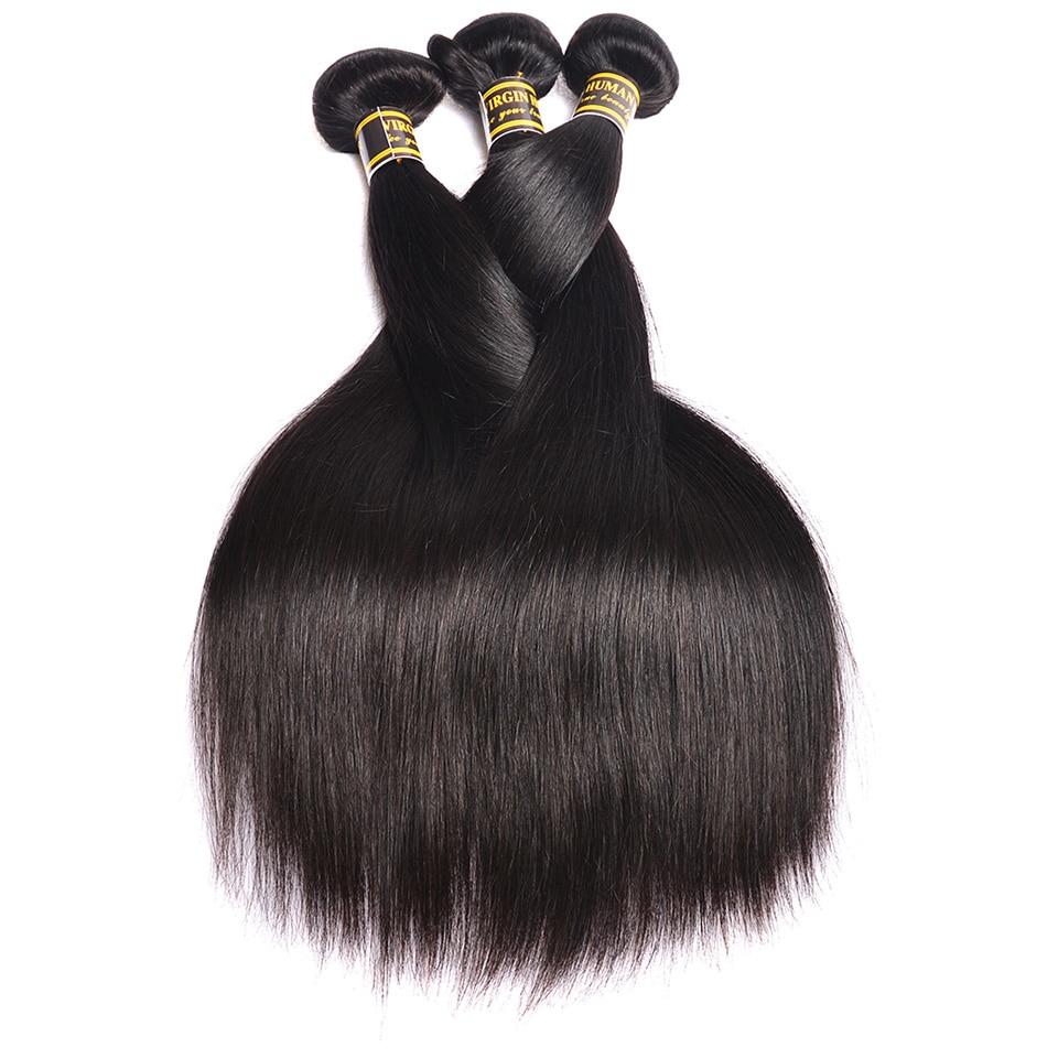 Beauty On Line Brazilian Straight Hair Weave Bundles 3 Bundles Human Hair Extensions Remy Hair Bundles Deals Natural Color