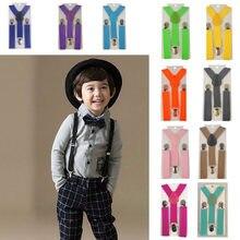 Suspensório elástico ajustável infantil, cinto de cor sólida para meninos e meninas, suspensório clipe em y, suporte traseiro e ajustável
