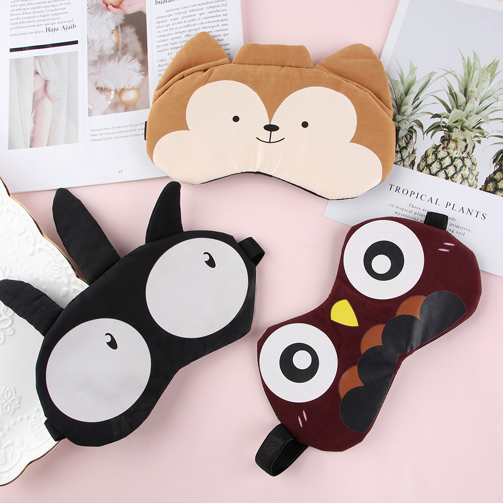 1PC Cute Shading Eye Mask Soft Padded Sleep Eyeshade Animal Expression Picture Eye Patch Rest Relax Eyeshade Blindfold Eye Care