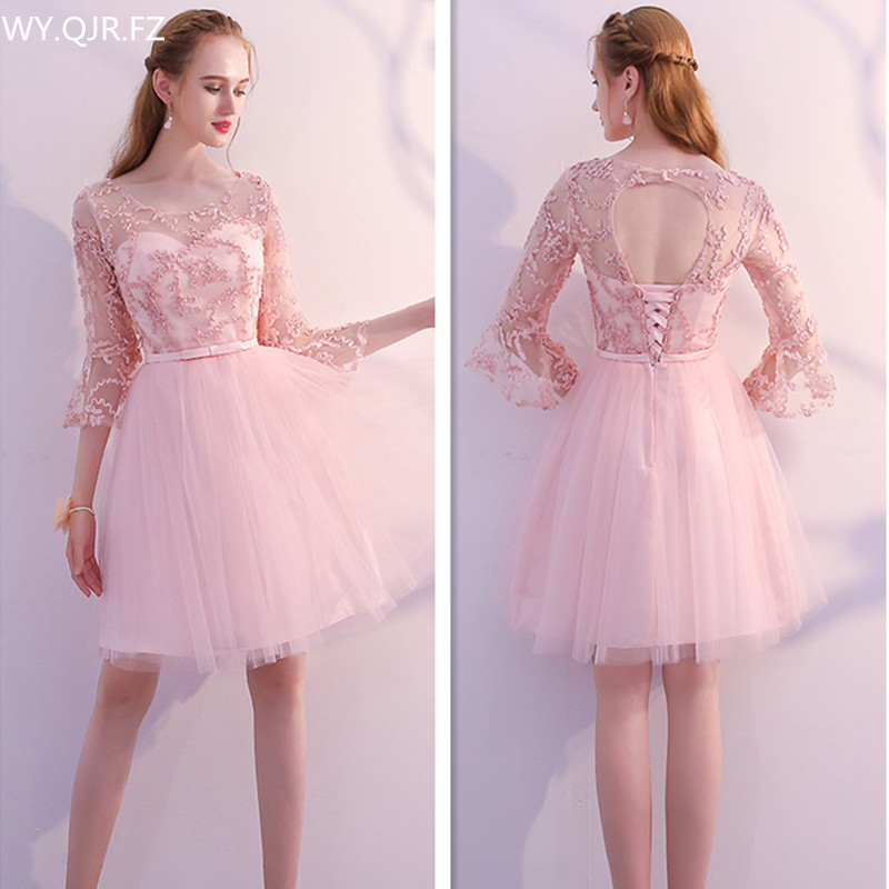 KBS70FY#Pink O-Neck pagoda sleeve short lace up Bridesmaid Dresses A-Line wedding party dress 2018 summer wholesale girl dress
