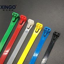 Xingo Releasable Cable Ties 50pcs Reusable ties UL Rohs Approved Loop Wrap Nylon zip Bundle