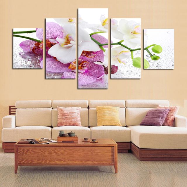 5 Pcs (No Frame)Beautiful Pink Orchid Oil Painting Flowers Wall Art ...