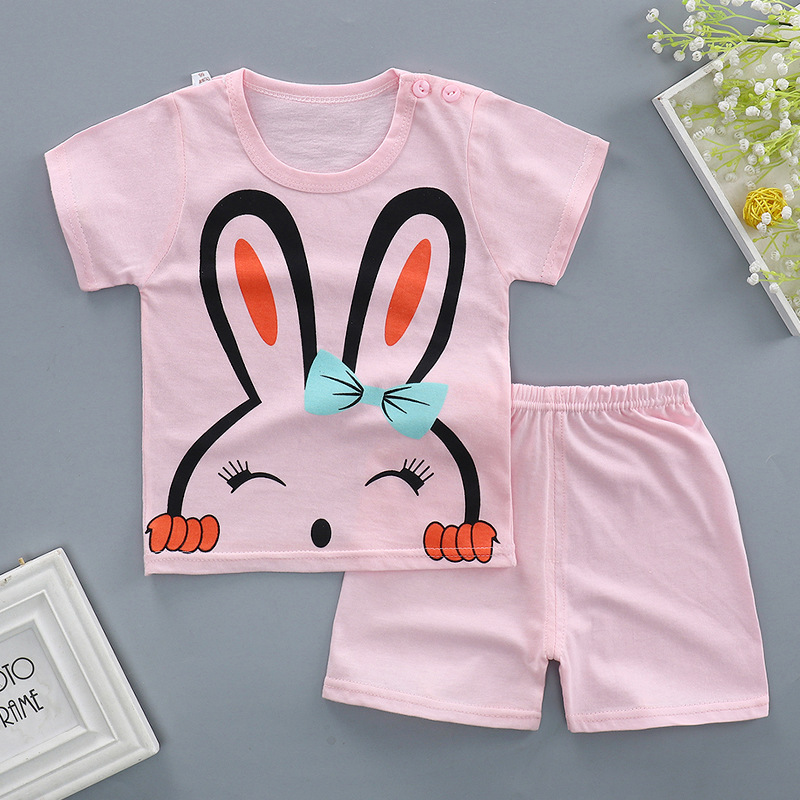 Summer baby girl clothes cotton Short sleeve printed t-shirt + pants toddler 2pcs outfit newborn baby girl clothing set