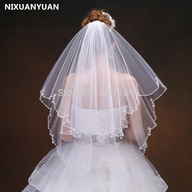Nixuanyuan Free Shipping 2t 2 Tier Scallop Beaded Edge Dangle Teardrop Crystal Bridal Wedding Veil With
