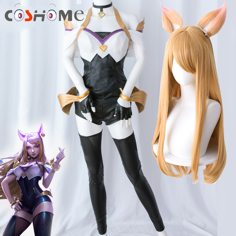 Coshome K/DA Ahri Cosplay Costume LOL KDA Cosplay Costume Fox Ahri Wigs Ears Women Jumpsuit for Halloween Party