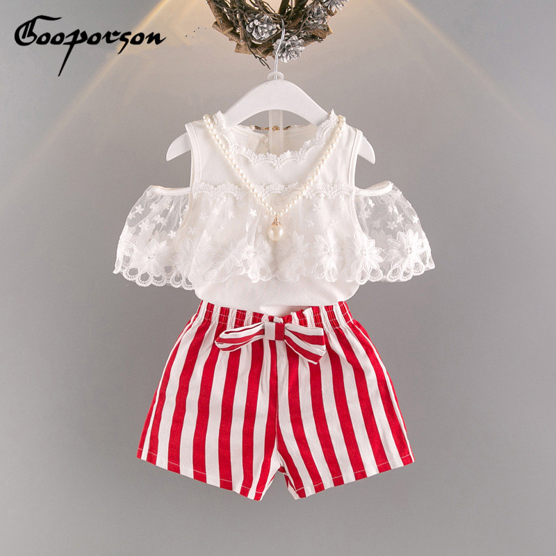 Girls Summer Clothes Set Shirt +Pants+Necklace Baby Kids Clothing Girl Babies Clothes Lace Trimming Tops Striped shorts Outfits