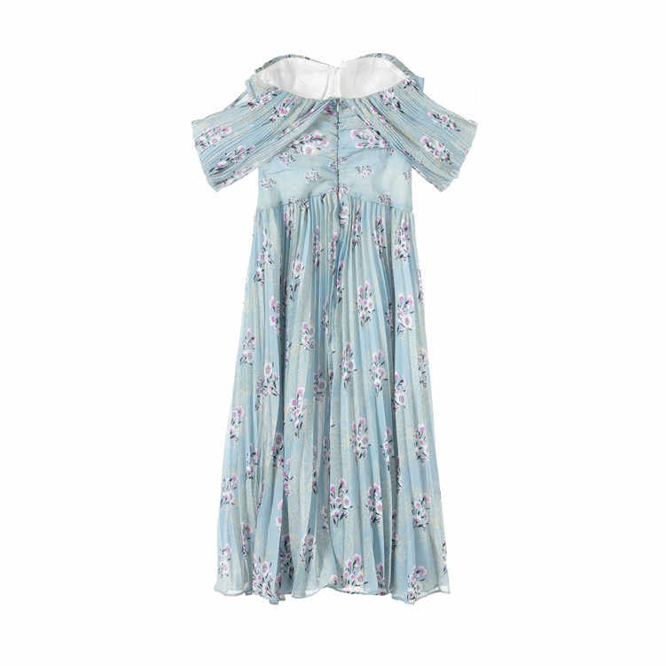 Truevoker дизайнерские платья женские высококачественные сексуальные без бретелек Небесно голубой цветок с драпировкой миди Женская одежда для вечеринки Ete