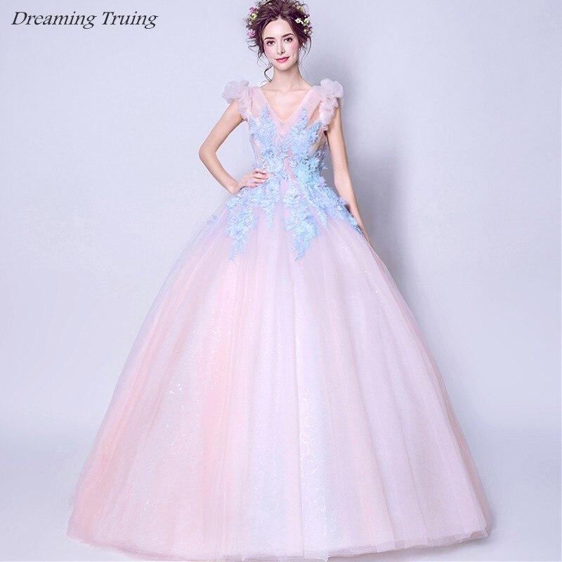 Light Pink Quinceanera Dresses Ball Gown V-Neck Off Shoulder 3D Flowers  Vestido De 15 Anos 2019 Girls Birthday Prom Dress