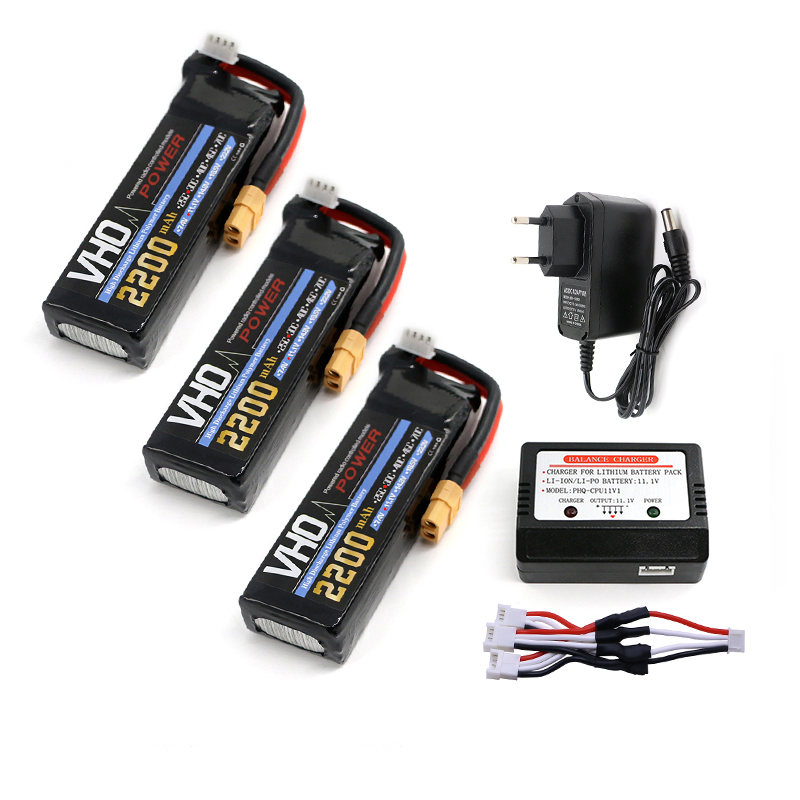 VHO 3pcs 11.1V 3S 2200mAh 30C LiPo Battery XT60 plug and EU charger Burst 60C High Rate RC model parts 3pcs battery and european regulation charger with 1 cable 3 line for mjx b3 helicopter 7 4v 1800mah 25c aircraft parts