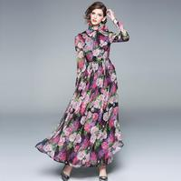 Women's European fashion spring summer long sleeve print long dress female vintage high waist runway chiffon dress TB985