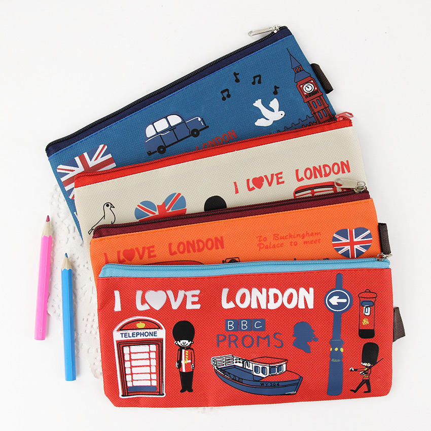 1 PC New Cute Kawaii Oxford Cloth London Pencil Cases Retro Zipper Pencil Bag for Kids School Office Supplies Stationery in Pencil Bags from Office School Supplies