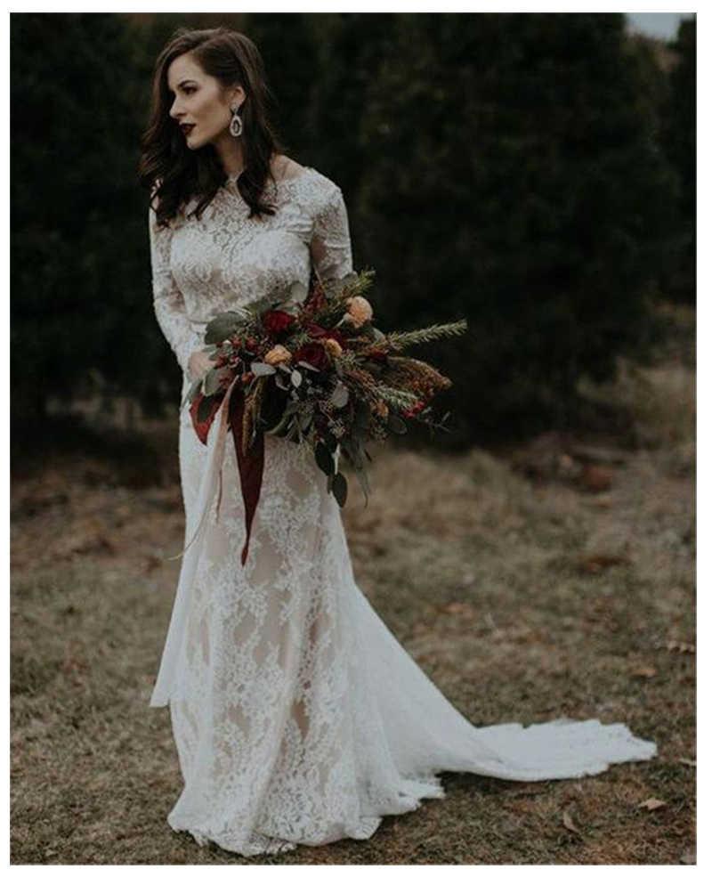 LORIE Boho Vestidos De Noiva Manga Longa Apliques de Renda dentro Fora de Cetim Botão Voltar Princesa Vestido de Noiva Vestido de Casamento