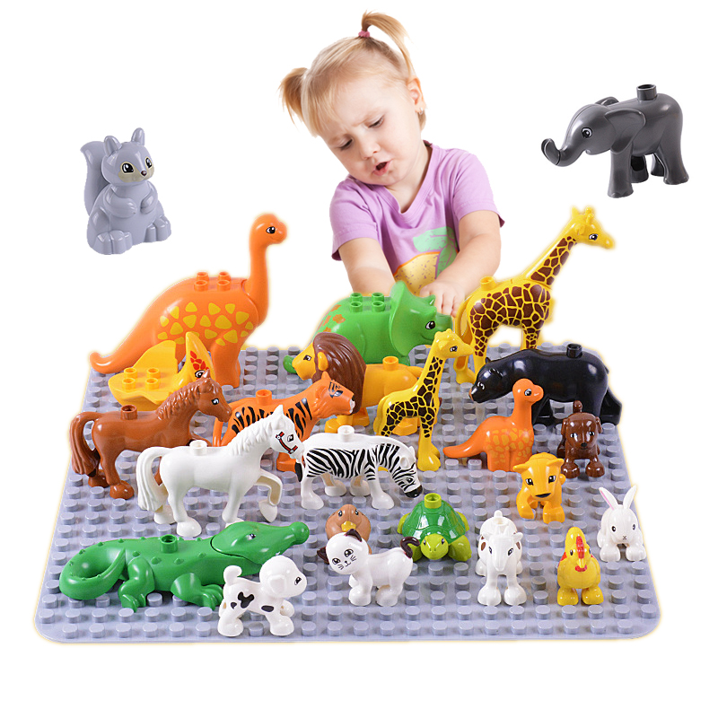 Duplos Animal Model Figures big Building Block Sets kids educational toy legoing