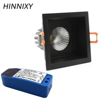 Hinnixy LED Anti dazzling Dimmable Square Downlights IP20 75mm 220V 5W/10/15W Ceiling Recessed Mounted Spot Lamp Home Lightiing