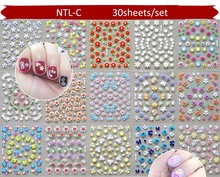 цена на 30sheets in one  3D Nail Art Transfer Stickers Nail Tips Decal Polish DIY Decorations Self Adhesive Flowrs Nail Art Decals
