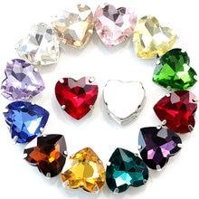 Strass colorés en forme de cœur pour couture sur vêtements, 7 tailles, en verre plat, avec griffe argentée, B2380