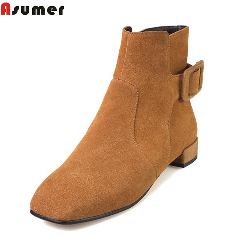 ФОТО ASUMER comfortable low square heels women ankle boots top fashion square toe solid colors women ankle boots in spring