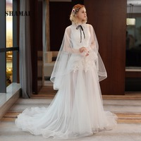 Sexy Wedding Dress Sweep Train Illusion Appliques High Neck Bridal Gown Real Sample Vestido De Noiva