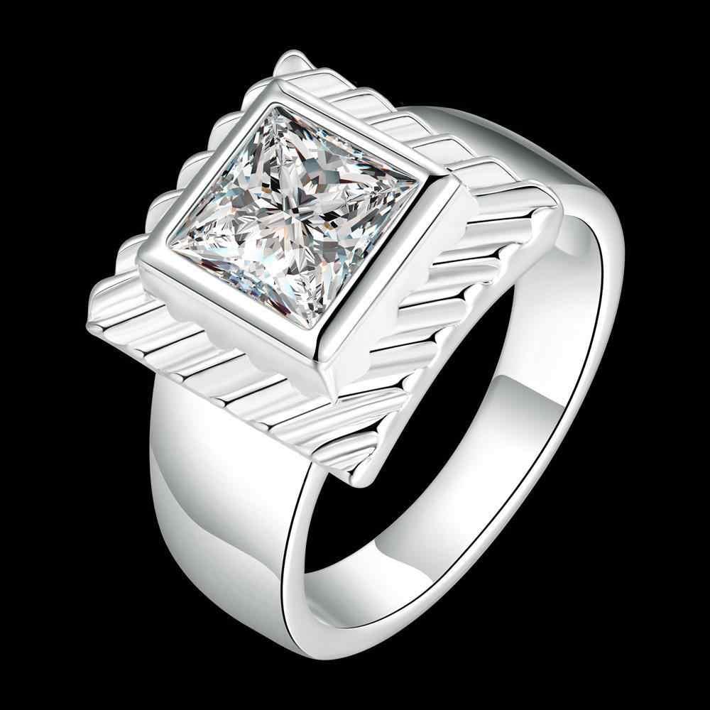 Atacado 925 Jóias de prata para o Casamento de Noivado Cubic Zirconia Inlayed Anéis Bijoux Mulheres R728
