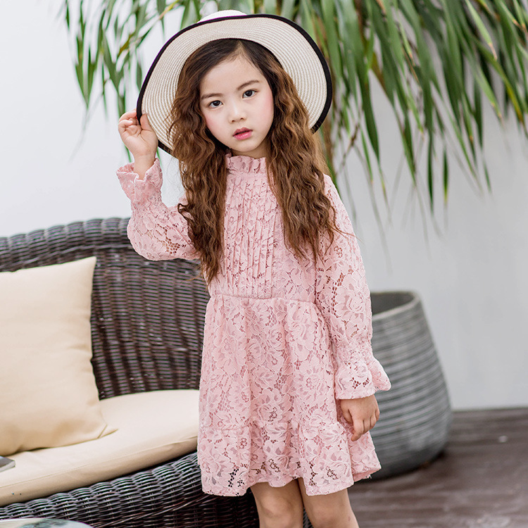 Фото 2018 Hot Sale Sale Cute Children Princess Dress Autumn Long Sleeve Guipure Lace Fabric Girl Party Wedding Evening Baby Clothes