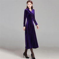 Autumn Women Sexy Slim Fashion Gold Velvet Long Dress Female Elegant V Neck Plus Size 5XL Dress Middle Age Mother's Clothing A76