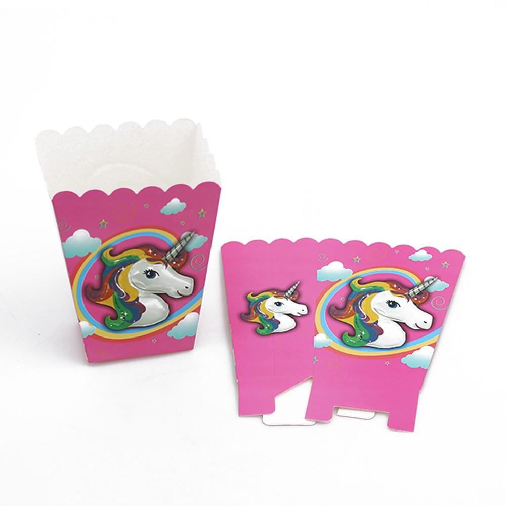 12pcs/set Pink Unicorn Rainbow Popcorn Boxes Unicorn Theme Popcorn ...