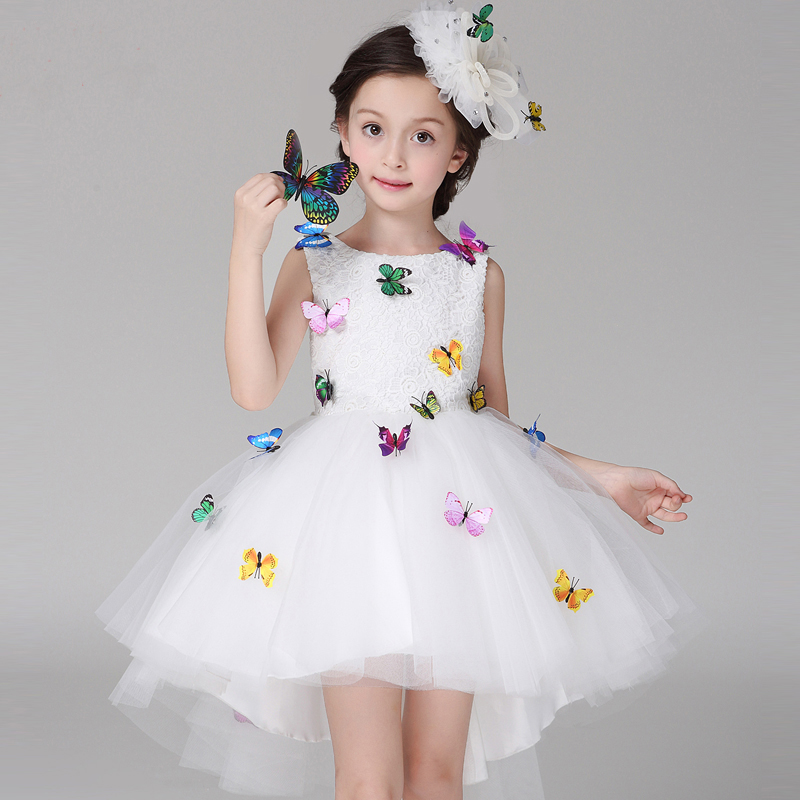Kids Dresses For Girls Baby Girl Irregular Vest Dress Cute Girl Princess Party White Lace Dress Children Clothing HS128 spring autumn cute baby kids girls party dress kids clothes cotton toddler girl clothing long sleeve baby girl princess dress