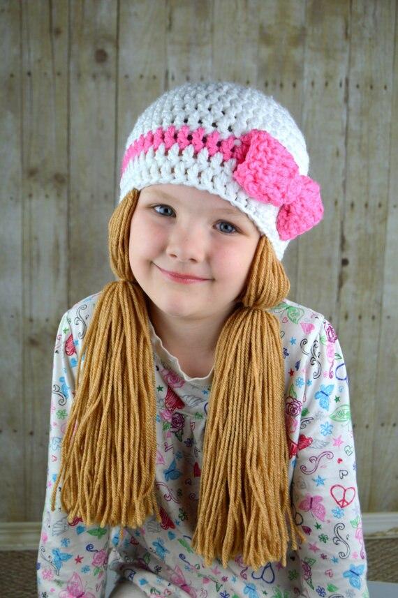 Baby Photo Prop Handmade Crochet Yarn Hat Hair Wig Baby