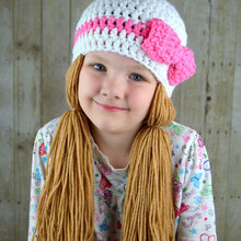 baby Photo Prop Handmade Crochet yarn Hat Hair wig, baby, kids,coffee