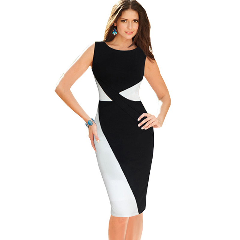 2015 Womens Black And White Colorblock Formal Dresses