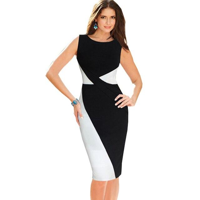 2015 Womens Black And White Colorblock Formal Dresses Elegant Office