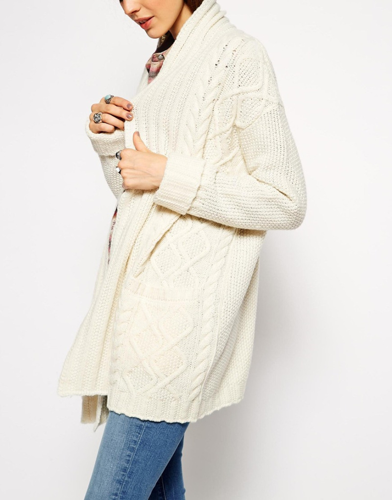 Winter 2015 Women Boho Chic White Cable Knit Long Maxi Cardigan ...