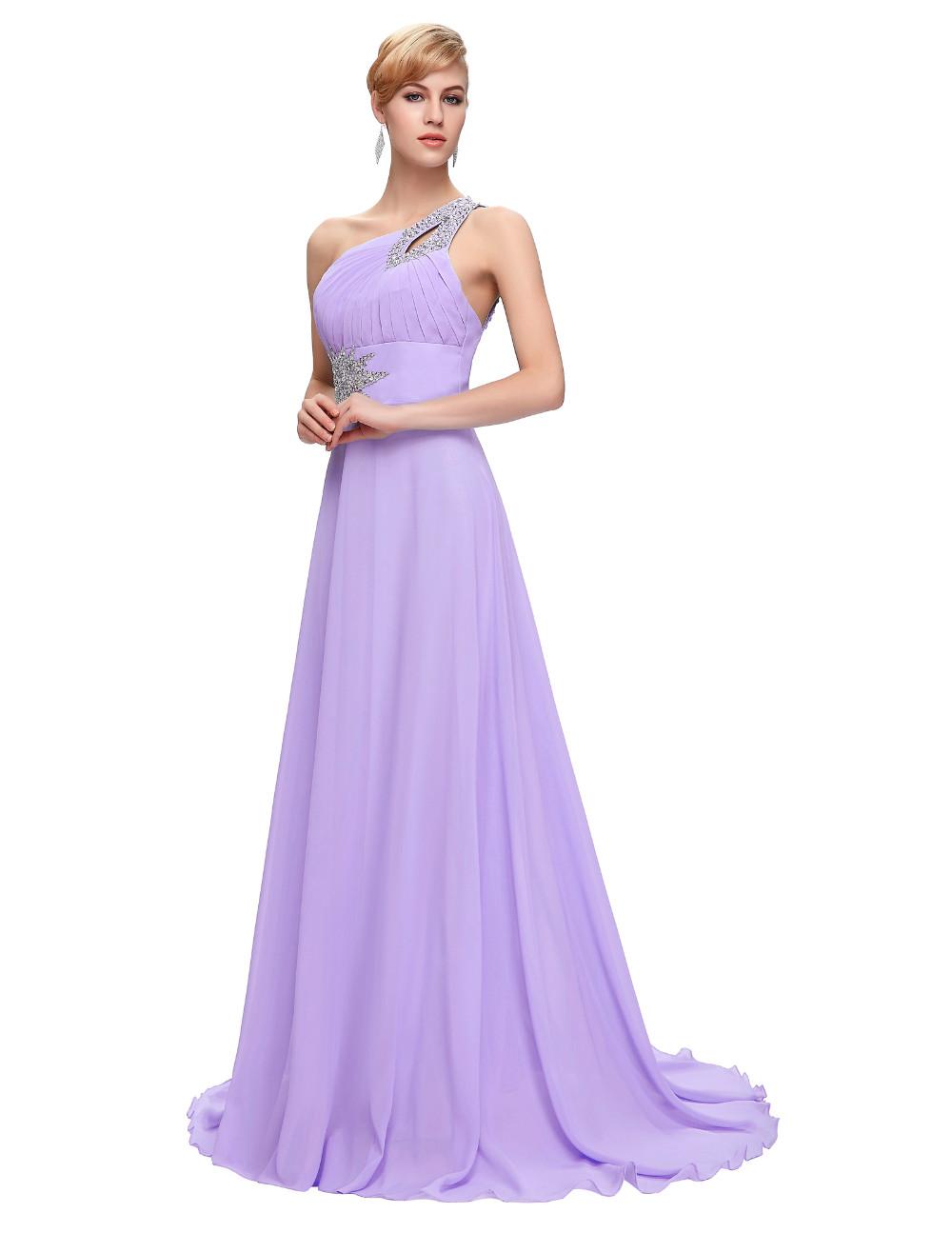 Elegant One Shoulder Long Bridesmaid Dress 19