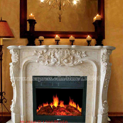decorative fireplace set European style custom made carved natural stone mantel electric fireplace insert LED optical flame
