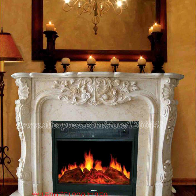 Decorative Fireplace Set European Style Custom Made Carved Natural Stone Mantel Electric Insert Led Optical