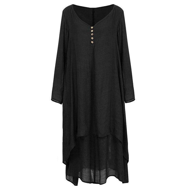 EaseHut Vintage Women Casual Loose Dress Solid Long Sleeve Boho Ethnic Autumn Long Maxi Dresses Plus Size Retro vestido mujer 18