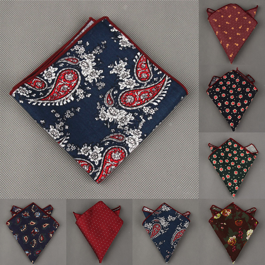Mantieqingway Men's Cotton Pocket Square Western Style Floral Handkerchief For Suit Pocket Wedding Square Paisley Hanky