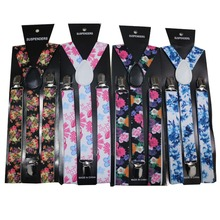 Free Shipping 2018 New Fashionable 1 Inch Wide Adult Adjustable Clip On Floral Suspenders Flower Braces For Womens Ladies