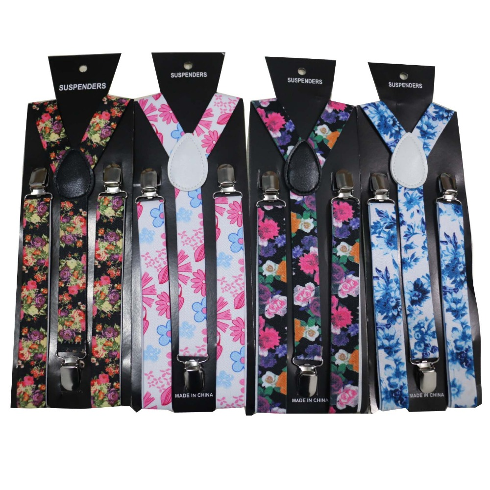 Free Shipping 2019 New Fashionable  1 Inch Wide Adult Adjustable Clip On Floral Suspenders Flower Braces For Womens Ladies