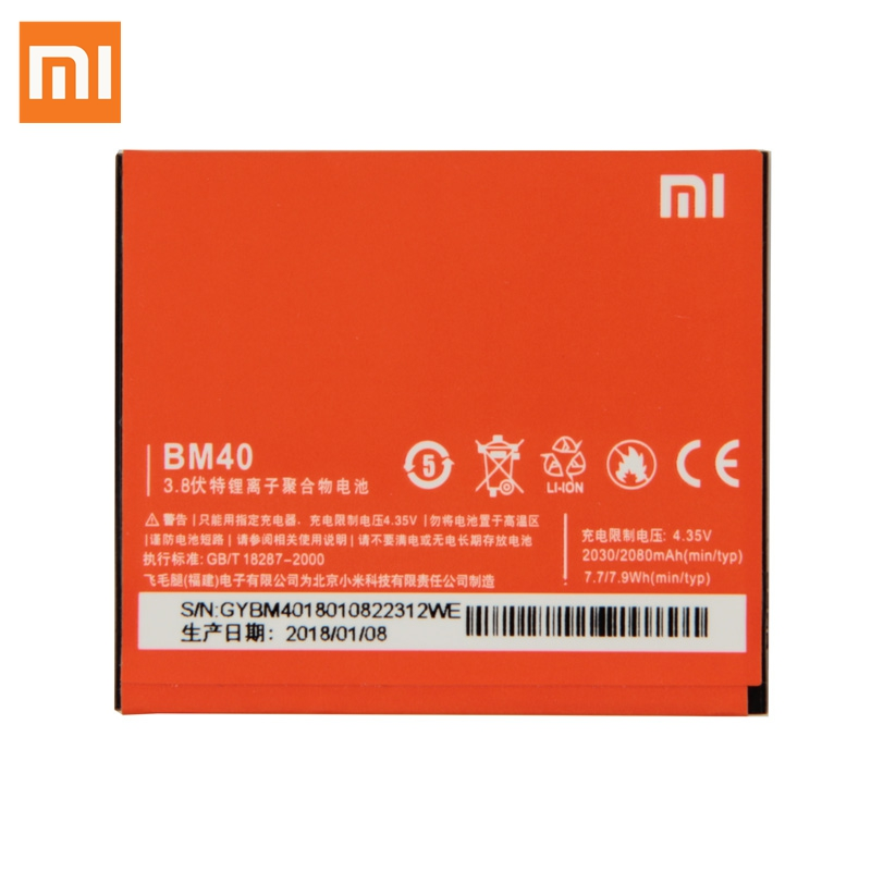 Xiao Mi <font><b>Original</b></font> Replacement <font><b>Battery</b></font> BM40 For <font><b>Xiaomi</b></font> Mi 2A <font><b>Redmi</b></font> <font><b>1S</b></font> Redrice 2 BM44 BM41 Authentic Phone <font><b>Battery</b></font> 2080mAh image