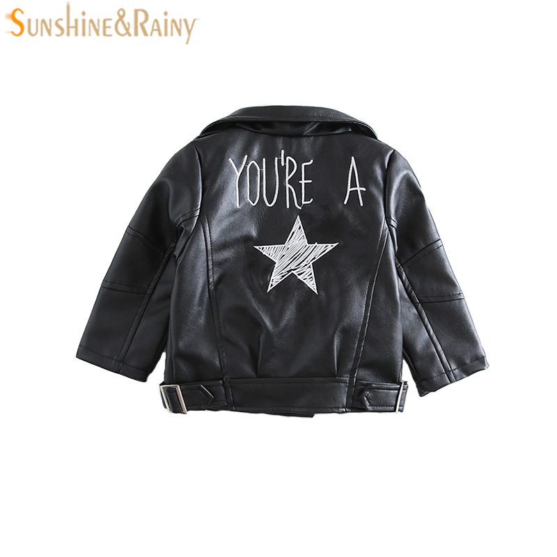 Ins Autumn Kids Motorcycle Jacket Embroidered PU Leather Jackets For Girls Clothes Children Outwear For Boys Coats Winter 1-5Y