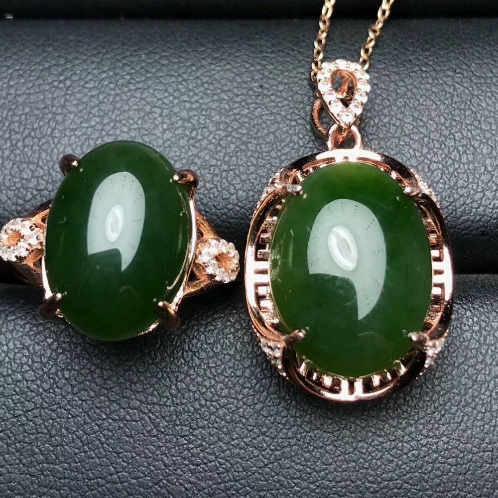 KJJEAXCMY Boutique jewels 925 pure silver inlaid natural and Tian jade jade female pendant pendant ring 2 sets of gold. - 4