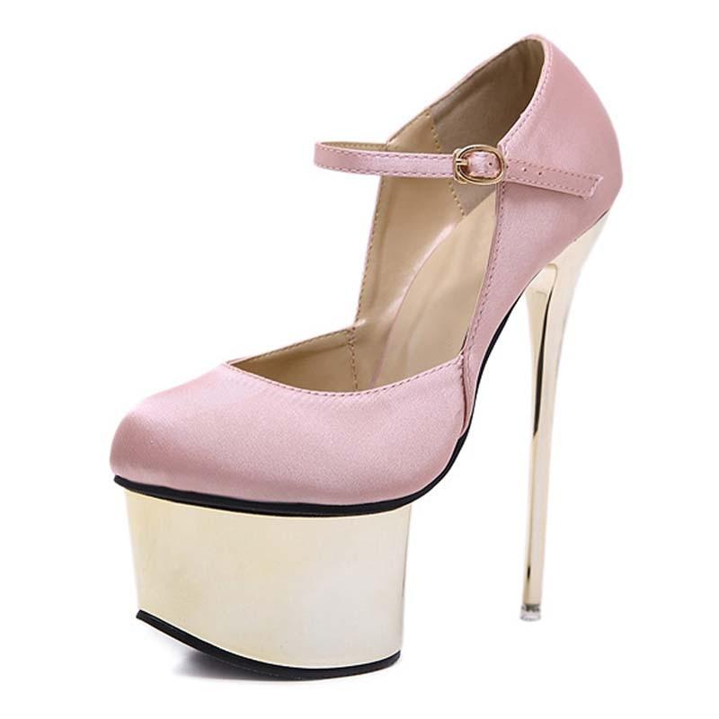 High-heeled shoes Black Pink Silk Women Pumps Buckle Strap Sexy 16 cm High heel Temperament Round Toe Wedding Pumps ShoesHigh-heeled shoes Black Pink Silk Women Pumps Buckle Strap Sexy 16 cm High heel Temperament Round Toe Wedding Pumps Shoes