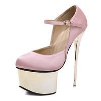 High heeled shoes Black Pink Silk Women Pumps Buckle Strap Sexy 16 cm High heel Temperament Round Toe Wedding Pumps Shoes