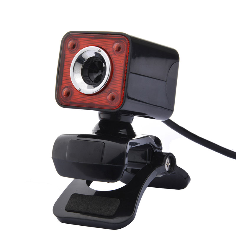 USB 2.0 <font><b>Web</b></font> Camera HD 1080p12M Pixel 4 LED Webcam MIC for MINI/PC <font><b>Black</b></font> and Red High Quality