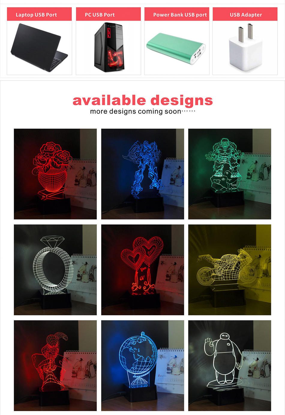 Luces Navidad Horse Shaped Led Christmas Lights 3D LED RGB Table Lamp (6)