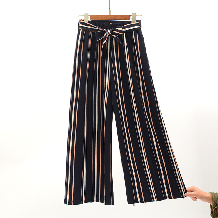 2019 Women Pants Summer New Striped High Waist Loose Pants Striped Straight Nine Pants Women 3