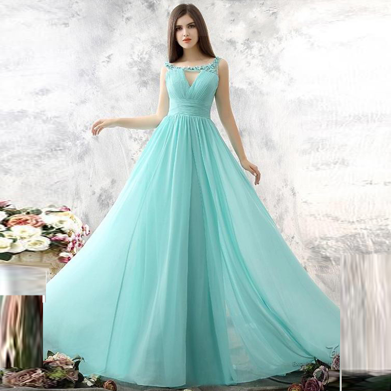 Beautiful Long Elegant Evening Dresses Top Ing A Line Chiffon Sweep Train Women Wedding Party Dress Scoop Backless In From