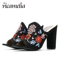 Vicamelia Summer Embroidery Floral Slippers Fashion Block Heel Sandals High Heel Women Suede Shoes Black Wedding Party Shoes 567
